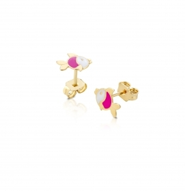Roberto Giannotti EARRINGS, gold FISH YELLOW GOLD WHITE ENAMEL PINK NKT266