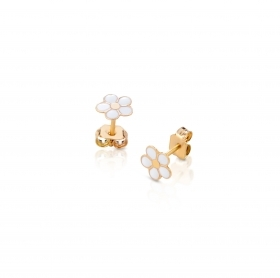 Roberto Giannotti EARRINGS GIRL FIOIRELLINO PINK GOLD WITH WHITE ENAMEL NKT268