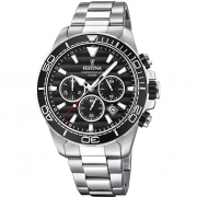 Festina mens watch chrono steel prestige black dial F20361/4