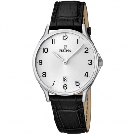 Festina man watch classic steel case leather strap F16745/1