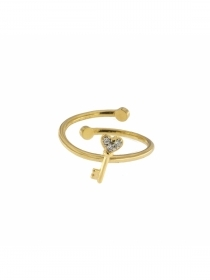 Rue des mille ring silver electroplating yellow gold key cubic zirconia ANZ-022 KEY