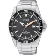 Citizen mens watch stainless steel 200 meters black ring BN0100-51E