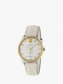 Gucci UNISEX AUTOMATIC STEEL CASE BEIGE LEATHER STRAP YA126348