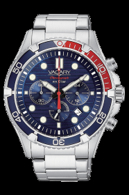 VAGARY MENS WATCH CHRONO STEEL BLUE BACKGROUND IV4-314-71