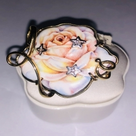 Gabriella Rivalta RING YELLOW GOLD WITH ROSE AND BRILLIANT AFR/PINK