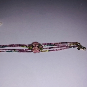Gabriella Rivalta BRACELET 4 STRANDS WITH ROSE BR/PINK