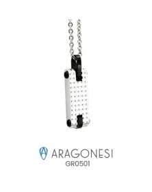 The aragonese BOULE, CHOKER steel with black inserts GR0501