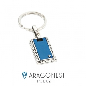 The aragonese Diamond keychain in stainless steel with diamond PC1702