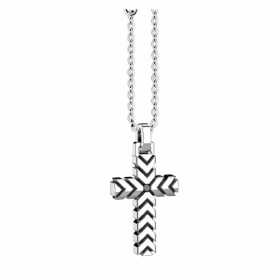 Zancan necklace with cross in silver 925 with zircon black EXC614