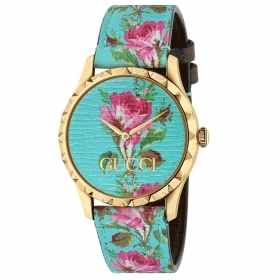 Gucci woman watch 38 mm g timless floral pattern blue YA1264085