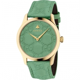 Gucci unisex wristwatch 38 mm green leather gold pvd YA1264099
