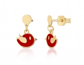 Giannotti EARRINGS BABY BIRD IN a YELLOW GOLD WITH RED ENAMEL NKT267