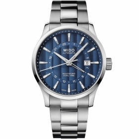 Mido automatic watch multifort gmt stainless steel blue dial M038.429.11.041.00