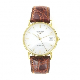 WATCH WRIST LONGINES 18K GOLD STRAP BROWN LEATHER 47446129