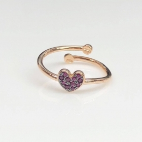 rue de mille in open Loop with the subject heart and cubic zirconia ANZ-022 HEART