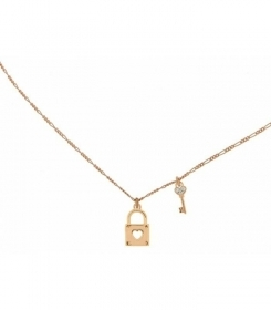 rue de mille necklace with electroplating rose gold with pendant lock key-GRZ-501 CB