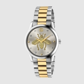 GUCCI MAN WATCH STEEL STRAP B/COLOR WITH BEE IN THE DIAL YA1264131