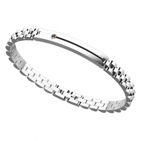ZANCAN BRACELET IN STEEL WITH SLIT AND BUTTON IN THE BLACK STONE EHB130