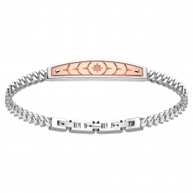ZANCAN BRACELET IN STEEL WITH PLATE PINK EHB143
