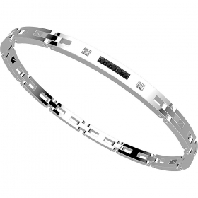 ZANCAN BRACELET IN STEEL WITH SAPPHIRES, WHITE AND SPINELLI BLACK EHB102