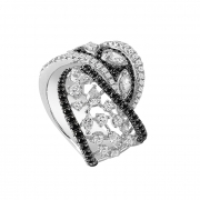 SALVINI RING WHITE GOLD BLACK AND WHITE DIAMOND 20063835