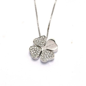 SALVINI COLLIERINO WHITE GOLD WITH FOUR-LEAF CLOVER WITH DIAMOND 20030767