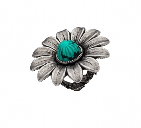 GUCCI SILVER RING LARGE FLOWER WITH GREEN STONE YBC525216001014