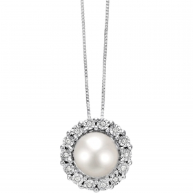 Bliss Necklace Margot in white gold and diamond with pearl 2