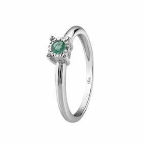 Bliss Ring Dew Colors white gold with emerald 20081335