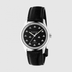 GUCCI MAN WATCH G-TIMELESS BLACK LEATHER STRAP API IN THE QUADRANT YA126286