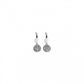 Uno de 50 earrings pearl coin alloy PEN0247PL