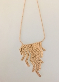 REBECCA Necklace with bronze fringe pink gold-plated BSLKBR33