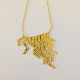 REBECCA Necklace gold plated Bronze yellow with fringes BSLKBO33