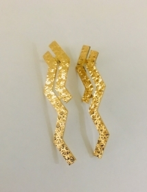 REBECCA Earrings Bronze yellow gold plated with 2 fringes BSLOBO31