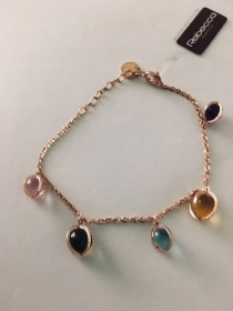 Rebecca silver Bracelet with stones hydrothermal pink gold-plated SRIBMR06