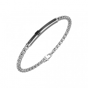 Zancan Bracelet in steel mesh round central plate black EHB180