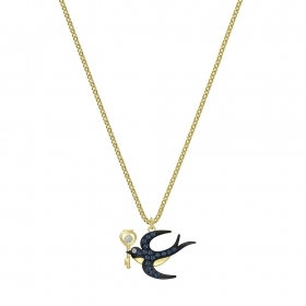 Swarovski Necklace symbol swallow with key blue Plated gold 5490922