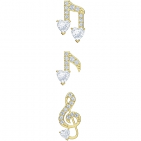 Swarovski Set ohrringe musik noten Vergoldet 5491659