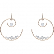 Swarovski Earrings circle North white rose gold Plated 5493391