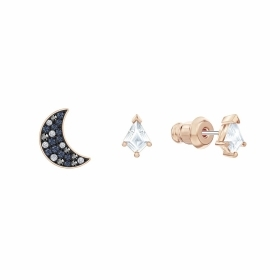 Swarovski Set earrings symbols the moon and the kite rose gold Plated 5494353