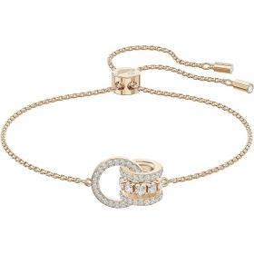 Swarovski bracelet with interlocking circles adorned with pink gold-plated 5501092