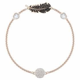 Swarovski Bracelet with symbol of a feather rose gold plated 5511089