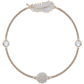 Swarovski Bracelet with symbol white feather with pink gold-plated 5511103