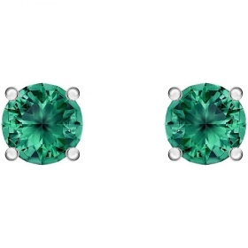 Swarovski Earrings crystal round green color rhodium-plated 5512384