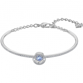 Swarovski bangle with crystal, blue-green, central rhodium-plated 5515385