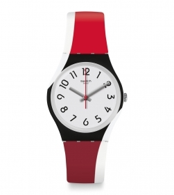 SWATCH WOMAN WATCH WITH STRAP 2 TONE RED GW208