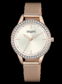 VAGARY Watch women's steel mesh milano pink gold-plated IK7-627-11