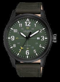 VAGARY mens Watch black leather strap green dial IB9-042-40