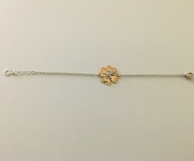 GIANNOTTI BRACELET WITH SILVER PENDANT CHARM FOUR-LEAF CLOVER AND GECKO GEA115