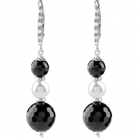 Bliss earrings woman in sterling silver with gray pearls and black stones 20081537